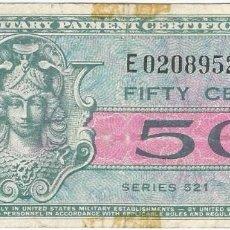 Billetes extranjeros: ESTADOS UNIDOS - UNITED STATES 50 CENTS 1954 PICK 32 MILITAR. Lote 146458706