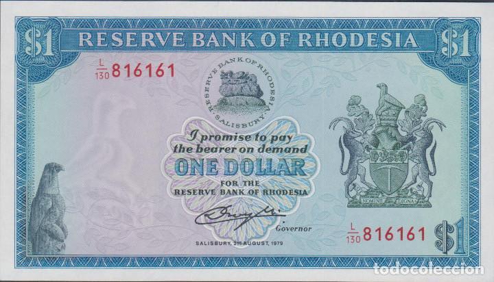 BILLETES - RHODESIA - 1 DOLLAR 1979 - SERIE L/130-816148 - PICK-30C (SC) (Numismática - Notafilia - Billetes Extranjeros)