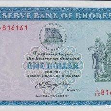 Billetes extranjeros: BILLETES - RHODESIA - 1 DOLLAR 1979 - SERIE L/130-816148 - PICK-30C (SC). Lote 176474782