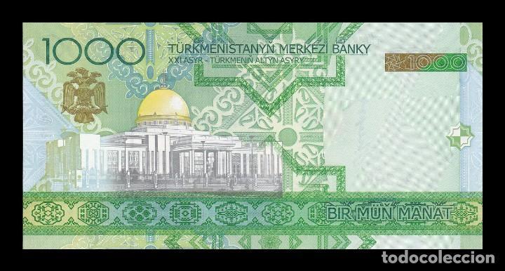 Billetes extranjeros: TURKMENISTAN 1000 MANAT 2005. PICK 20. SC (Sin circular) - Foto 2 - 146622634