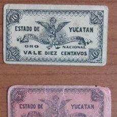 Billetes extranjeros: LOTE BILLETES. BILIMBIQUES REVOLUVIONARIOS DEL GOBIERNO CONSTITUCIONALISTA DE YUCATÁN. MÉXICO.. Lote 147035630