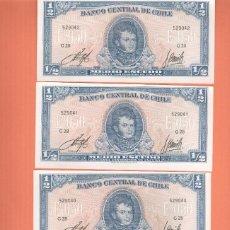 Billetes extranjeros: 4 PRECIOSOS BILLETES PLANCHA DE CHILE MEDIO ESCUDO CORRELATIVOS VER TODOS MIS LOTES DE BILLETES . Lote 147308562