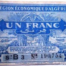 Billetes extranjeros: ARGELIA 1944 ÉPOCA II GUERRA MUNDIAL 1 FRANCO REGIÓN ECONÓMICA DE ARGELIA VER FOTOS CIRCULADO . Lote 147491510