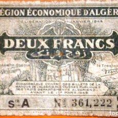Billetes extranjeros: ARGELIA 1944 ÉPOCA II GUERRA MUNDIAL 2 FRANCOS REGIÓN ECONÓMICA DE ARGELIA VER FOTOS CIRCULADO . Lote 147496254
