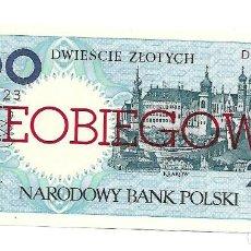 Billetes extranjeros: POLONIA 200 ZLOTYCH 1990 PICK# 171A. SIN CIRCULAR *** RARO ***. Lote 151711782