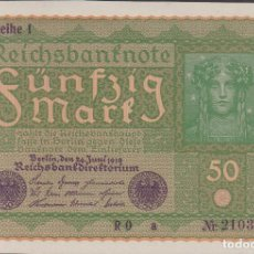 Billetes extranjeros: BILLETES - GERMANY-ALEMANIA 50 MARK 1919 - SERIE RO A - PICK-66 (SC). Lote 147842926