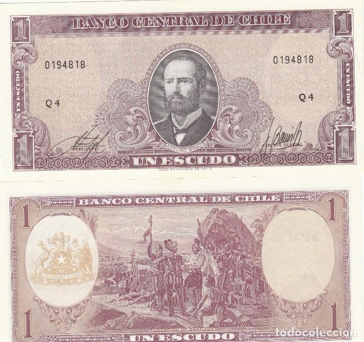 L137 BILLETE CHILE 1 ESCUDO 1964 SIN CIRCULAR UNC (Numismática - Notafilia - Billetes Extranjeros)