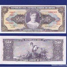 Billetes extranjeros: BRASIL : 5 CENTAVOS-SELLADOS SOBRE 50 CRUZEIROS.1966-67. SC.UNC PK.# 184 B. FIRMA 15. Lote 195521618
