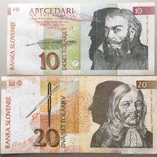 Billetes extranjeros: ESLOVENIA. LOTE DE 2 BILLETES. 10 Y 20 TOLARJEV. Lote 148766632
