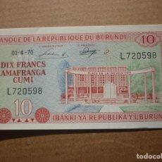 Billetes extranjeros: BURUNDI - 10 FRANCOS 01-4-1970 S/C. Lote 148773022