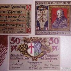 Billetes extranjeros: ALEMANIA NOTGELD/HAMMELBURG. 10+25+50 PFENNIG 1918. SC. . Lote 150344522