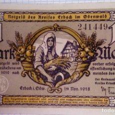 Billetes extranjeros: ALEMANIA NOTGELD/ERBACH IM ODERWALD. 1 MARK 1918. SC. . Lote 150664438