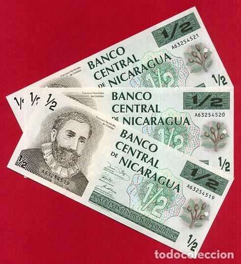 1 BILLETE NICARAGUA , 1/2 MEDIO 50 CENTAVOS DE CORDOBA , SIN CIRCULAR PLANCHA , ORIGINAL (Numismática - Notafilia - Billetes Extranjeros)