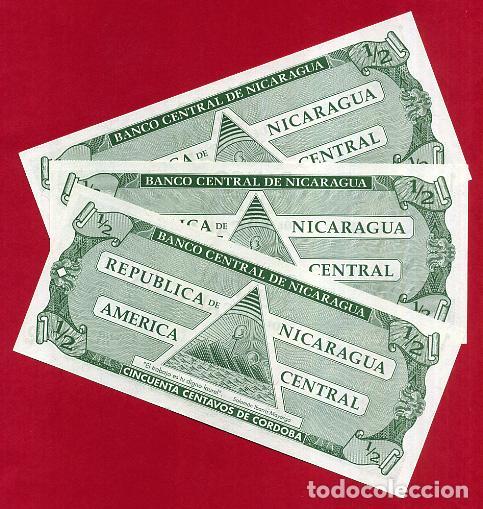 Billetes extranjeros: 1 BILLETE NICARAGUA , 1/2 MEDIO 50 CENTAVOS DE CORDOBA , SIN CIRCULAR PLANCHA , ORIGINAL - Foto 2 - 152209896