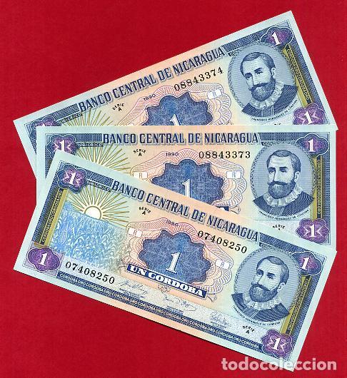 1 BILLETE NICARAGUA , 1 CORDOBA SERIE A , SIN CIRCULAR PLANCHA , ORIGINAL (Numismática - Notafilia - Billetes Extranjeros)