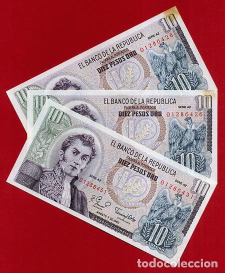 1 BILLETE COLOMBIA , 10 PESOS ORO , 1980 , SIN CIRCULAR , PLANCHA , ORIGINAL (Numismática - Notafilia - Billetes Extranjeros)
