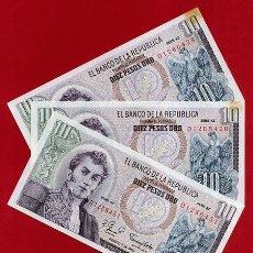 Billetes extranjeros: 1 BILLETE COLOMBIA , 10 PESOS ORO , 1980 , SIN CIRCULAR , PLANCHA , ORIGINAL. Lote 152196773