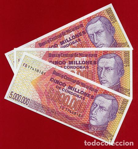 1 BILLETE NICARAGUA , 5 MILLONES 5.000.000 DE CORDOBAS , SIN CIRCULAR , PLANCHA , ORIGINAL (Numismática - Notafilia - Billetes Extranjeros)