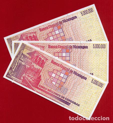 Billetes extranjeros: 1 BILLETE NICARAGUA , 5 MILLONES 5.000.000 DE CORDOBAS , SIN CIRCULAR , PLANCHA , ORIGINAL - Foto 2 - 152196266