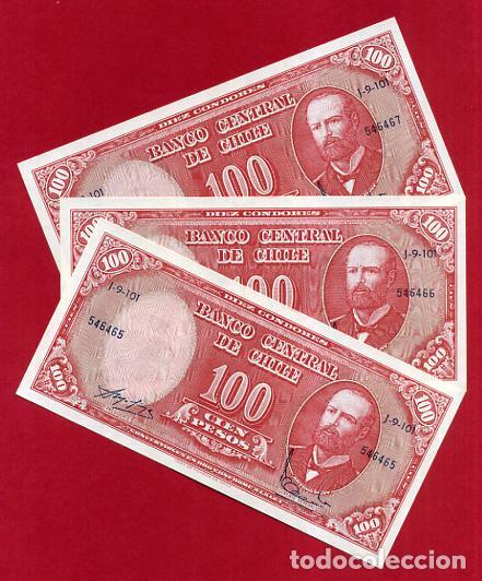1 BILLETE CHILE , 100 PESOS , SIN CIRCULAR , PLANCHA , ORIGINAL (Numismática - Notafilia - Billetes Extranjeros)