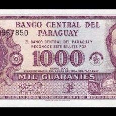 Billetes extranjeros: PARAGUAY 1000 GUARANÍES 2002 PICK 221 SC UNC. Lote 151206366