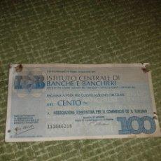 Billetes extranjeros: 100 LIRAS. Lote 151441966