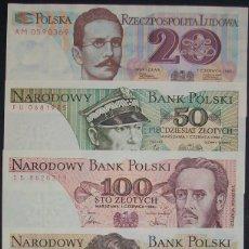 Billetes extranjeros: LOTE/SET DE 5 BILLETES DE POLONIA. 20 A 1000 ZLOTYCH. 1982-1986. SC/UNC. Lote 151507602
