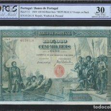 Billetes extranjeros: PCGS 30 / PORTUGAL BANCO DE PORTUGAL 100 MIL REÍS 1909 PICK 111. Lote 172630264