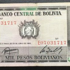 Billetes extranjeros: BOLIVIA 1000 PESOS BOLIVIANOS 1982 PK167 F. Lote 151711814