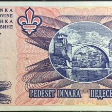 Billetes extranjeros: BOSNIA Y HERZEGOVINA 50 DINARAS AÑO 1995 PK47 UNC. Lote 151712362