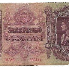 Billetes extranjeros: HUNGRIA 100 PENGO 1930 PICK 112. Lote 151713086