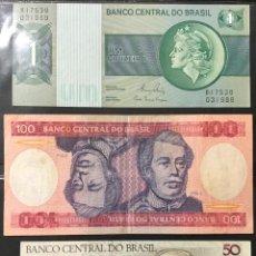 Billetes extranjeros: BRASIL 1, 50 Y 100 CRUZEIROS PK191, 223 Y 198 ANOS 1972-80, 1990 Y 1984 UNC Y VF. Lote 151713814