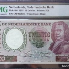 Billetes extranjeros: PMG 35 NETHERLANDS 20 GULDEN 1955 PICK 86 VERY RARE. Lote 152076857