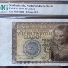 Billetes extranjeros: PMG 35 NETHERLANDS 25 GULDEN 1940 PICK 57 VERY RARE. Lote 152230638