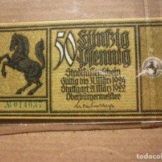 Billetes extranjeros: ALEMANIA - 50 PFENNIG 1922 NOTGELD STUTTGART Nº 014037 S/C. Lote 152287674