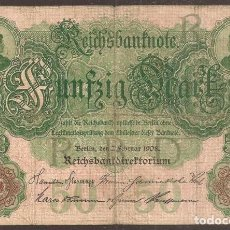 Billetes extranjeros: ALEMANIA. 50 MARK 7.2.1908. PICK 32. Lote 152595338