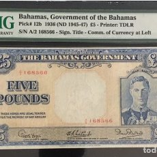 Billetes extranjeros: PMG 25 // 1936 BAHAMAS 5 POUNDS (1945-1947),, EXCELLENT VERY RARE SCARCE. Lote 152686676