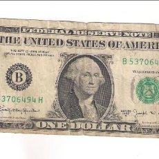 Billetes extranjeros: BILLETE DE DÓLAR DE ESTADOS UNIDOS DE 1963-B BANCO DE NUEVA YORK. BC. WORLD PAPER MONEY-443C (BE116). Lote 152795030