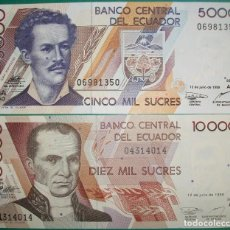 Billetes extranjeros: ECUADOR. LOTE/SET 2 BILLETES. 5000 Y 10000 SUCRES. 1999. PICK 127,128. SC/UNC. Lote 153944906
