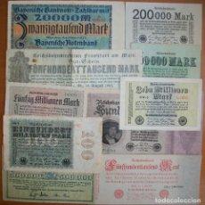 Billets internationaux: LOTE DE 10 BILLETES DE ALEMANIA. 1923. INFLACIÓN. TODOS DIFERENTES. CIRCULADOS. Lote 154140602