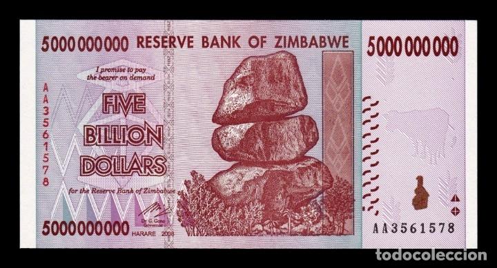 P-84 UNC Dollars 2008 5 Billion Zimbabwe 5000000000