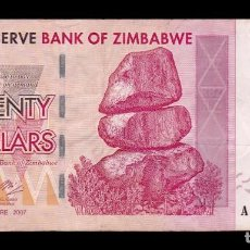 Banconote internazionali: ZIMBABWE 20 DOLLARS 2007 PICK 68 BC/MBC. Lote 243341440