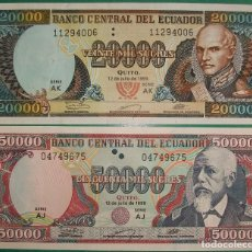 Billetes extranjeros: ECUADOR. LOTE/SET 2 BILLETES: 20000 Y 50000 SUCRES. 1999. PICK 129,130. SC/UNC. Lote 154498070