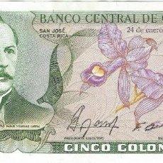 Billetes extranjeros: COSTA RICA 5 COLONES COLONES 24-1-1990 PK 236 E.1 UNC. Lote 154796558