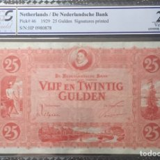 Billetes extranjeros: PCGS 25 NETHERLANDS 25 GULDEN 1929 PICK 46 VERY RARE. Lote 155181454
