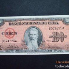 Billetes extranjeros: BILLETE DE CUBA , AÑO 1959, PLANCHA, AGUILERA, 100 PESOS.. Lote 155268350