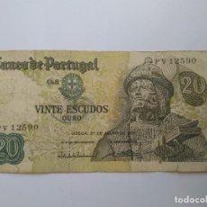 Billetes extranjeros: VINTE ESCUDOS-QURO LISBOA 27 DE JULHO DE 1971 BIEN ESTADO DE CONSERVACION. Lote 155536582