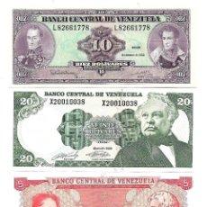 Billetes extranjeros: VENEZUELA LOTE DE 3 BILLETES DIFERENTES . SIN CIRCULAR. Lote 155693310