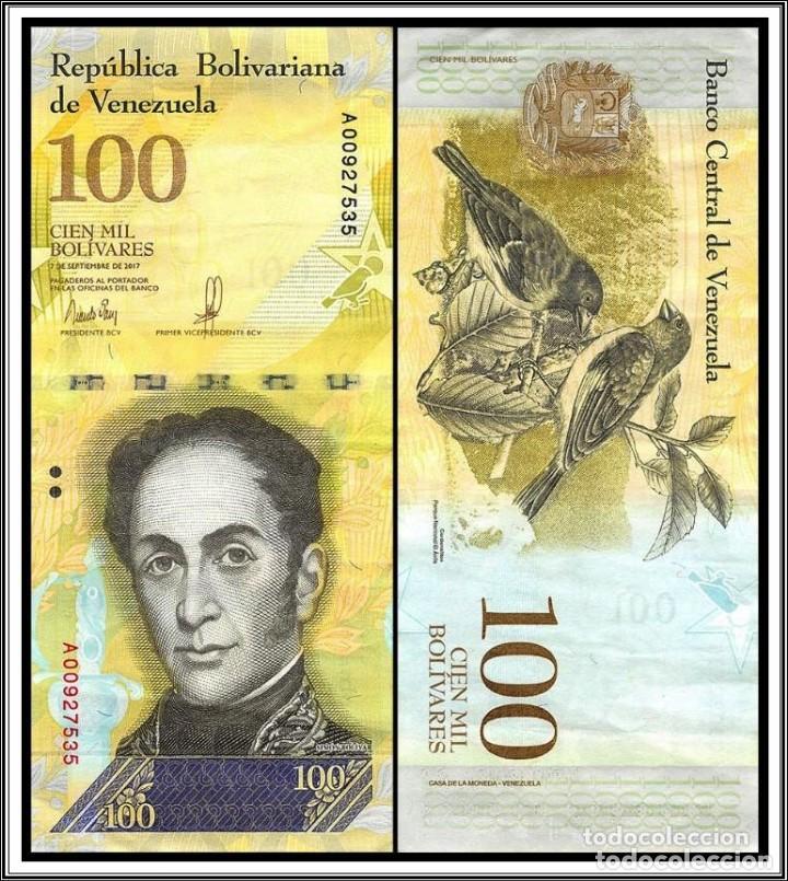 BILLETE DE AMERICA (VENEZUELA) 100.000 BOLIVARES 2017 SIN CIRCULAR-UNC (Numismática - Notafilia - Billetes Extranjeros)