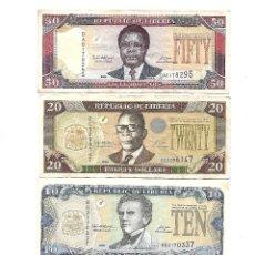 Billetes extranjeros: LIBERIA 50, 10 Y 5 DOLLARS 2006. Y 20 DOLLARS 2008. Lote 155910318